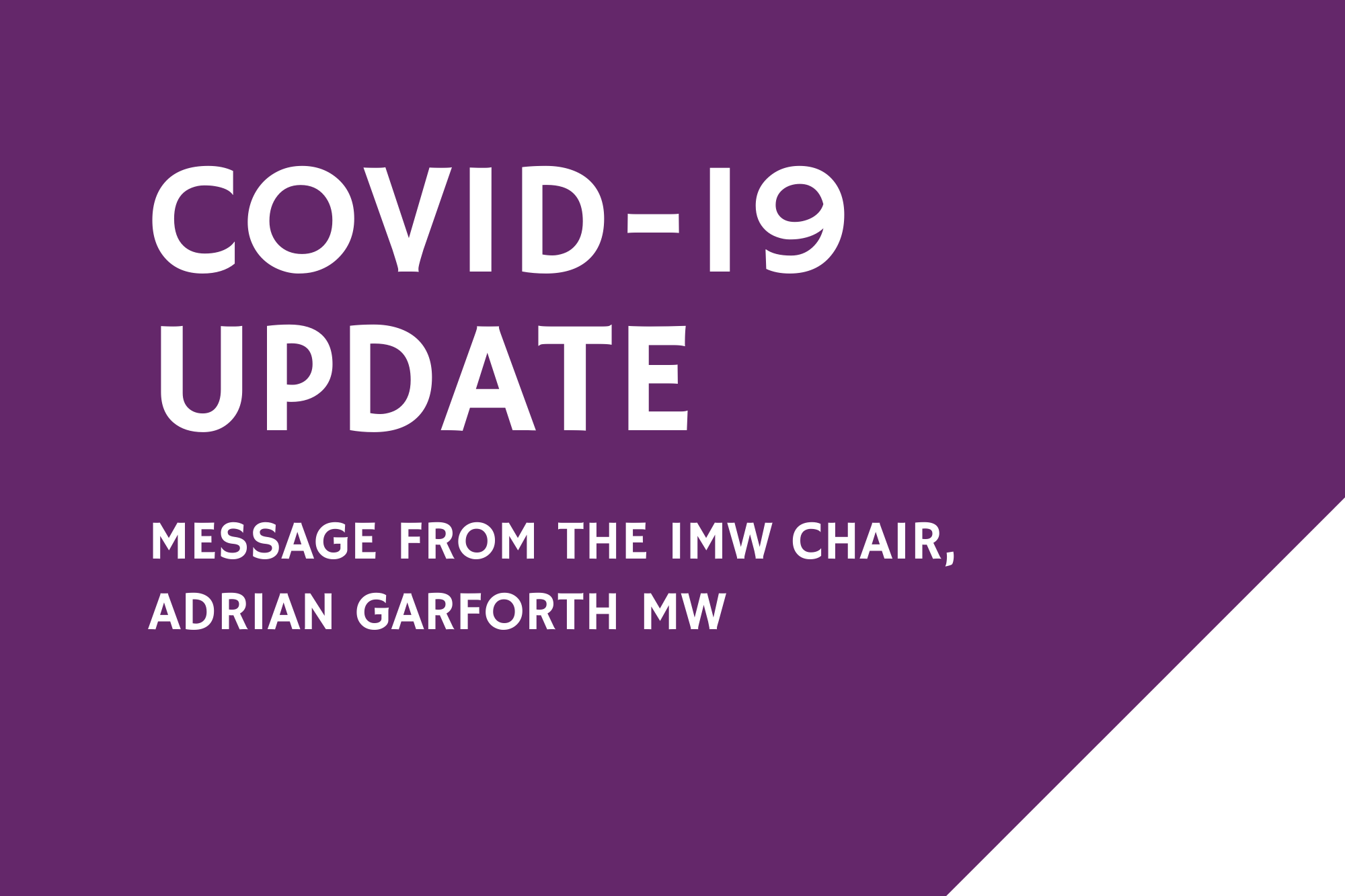 Message from the IMW Chair
